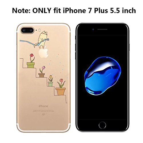 Custodia iPhone 7, Yoowei® Divertente Motivo Design Colorato Cristallo Trasparente Ultra Sottile Morbido TPU Gel Case Cover per iPhone 7 4.7 (Aeroplano di carta) Jumping dinosaurs