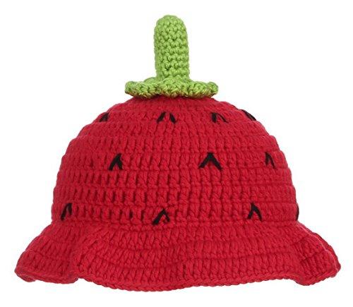 La Vogue Bébé Chapeau Casquette Bébé Fille Enfant Hiver Tricot Crochet  Bonnet Fraise Déguisement Noël Rouge fd35ae2464e