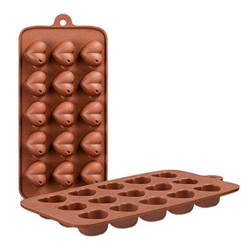 HHCD 10 Stücke Weihnachten Kuchen Cupcake Schokolade Silikon 15 Stücke Herzform Form Cupcake Fondant Icing Backform,Brown-21.5*10.7*2.3cm (Cupcake Brown Ein Stück Kuchen)