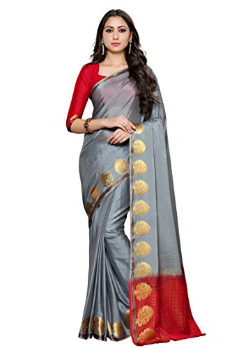 Mimosa Women's Crepe Saree With Blouse Piece (4031-235-Grey,Grey,Free Size)