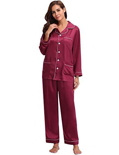 Aibrou Damen Sommer/Frühling Klassische Schlafanzug Satin V-Ausschnitt Zweiteiliges Pyjama Nachtwäsche Set Weinrot S
