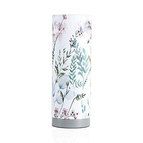 Pauleen Flowery Romance Tischleuchte max. 20W Tischlampe für E14 Lampen Nachttischlampe Weiß Grün Rosa Blau 230V Stoff/Beton ohne Leuchtmittel 48004