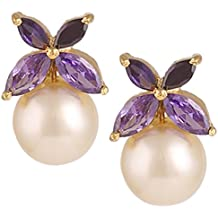 Swasti Jewels floreale a forma di oro placcato zircone e perle orecchini per le donne