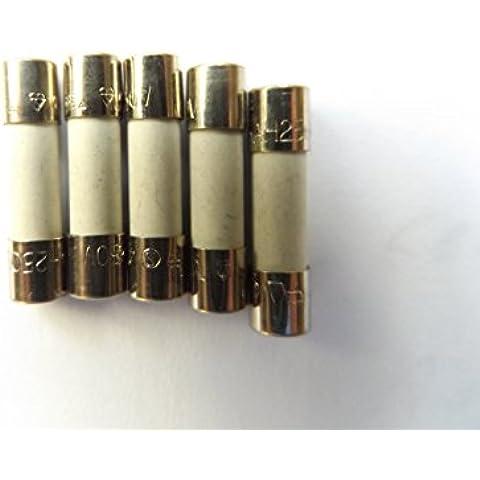 Fusible 1,6 A 20 mm HBC contra sobretensiones/retardo de tiempo T1.6A H 250 V cerámica x5Pcs