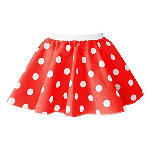 Kinder-Rock, gepunktet, Rock-n-Roll-Stil der 50er-/60er-Jahre, mit Krawatte, 30,5cm Länge Gr. 10-12 UK ( Taille 30.48 cm) , Red and white (Tanz Kostüm Mädchen Großbritannien)