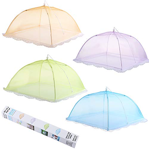 ipow Update Mesh-Material 4 Pack Fliegenhaube 43x43cm Großer Taschenschirm Lebensmittel Abdeckung Zelt vor Insekten schützen, Faltbar/Farbig