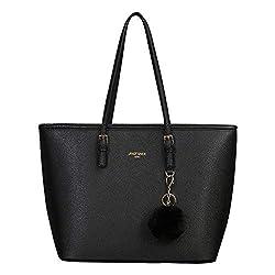 URAQT Damen Handtasche Schwarz, Damen Shopper Handtasche Leder Damen Tasche Groß Schule Handtasche für Büro Schule Einkauf mit Kaninchen Pelz Kugel Plüsch Schlüsselring