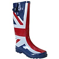 Ladies Womens New Wide Calf Adjustable Snow Rain Mud Festival Waterproof Wellington Boots Wellies UK 3-8 (Maximum Calf Width 42 cm) (UK 3, Union Jack)