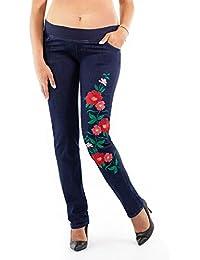 6677b3ec6a7d MAMAJEANS Modena - Jeans Premaman vestibilità Regular con Ricamo Floreale  di Alta qualità - Made in