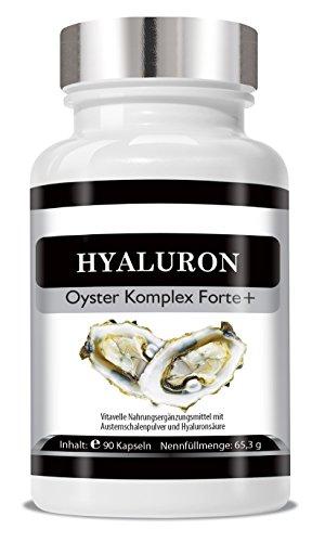Hyaluron - Oyster Komplex Forte+ 90 Kapseln Cellulosekapseln I Anti Aging Kapseln I Hyaluron-Kapseln mit Austernschalenpulver I 90 Vegane Beauty-Kapseln mit Hyaluronsäure