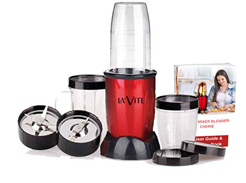 La Vite Cherie -Compact Powerful Mixer Grinder Blender - 3 Jars & 2 Detachable Blades (Free Recipe E-Book)