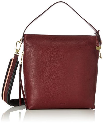 Fossil Damen Tasche Maya-Small Hobo Schultertasche, Rot (Cabernet), 10.8x29.9x32.7 cm (Rote Leder-hobo)