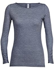 Icebreaker Nomi T-Shirt Manches Longues Femme, Gumtree/Snow/Stripe, FR : XS (Taille Fabricant : XS)
