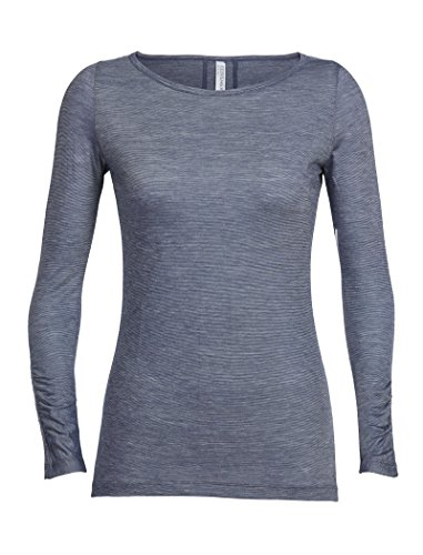 Icebreaker Nomi Frauen lange Ärmel T-Shirt, Damen, Nomi, damen, 104066, Gumtree/Snow/Stripe, M (Pullover Prana-wolle)