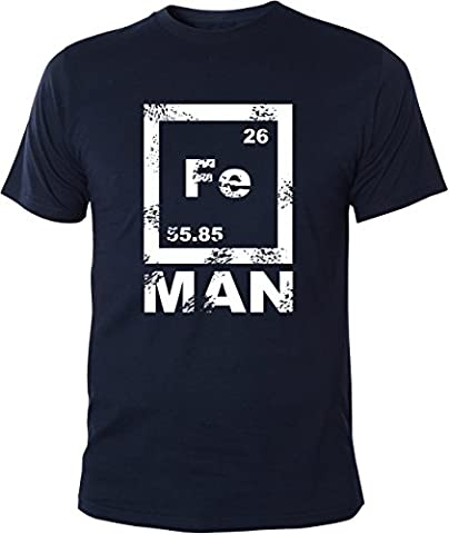 Mister Merchandise Witziges Herren Männer T-Shirt FE Man Iron Ironman Chemie Periodentafel Nerd , Größe: M, Farbe: Navy