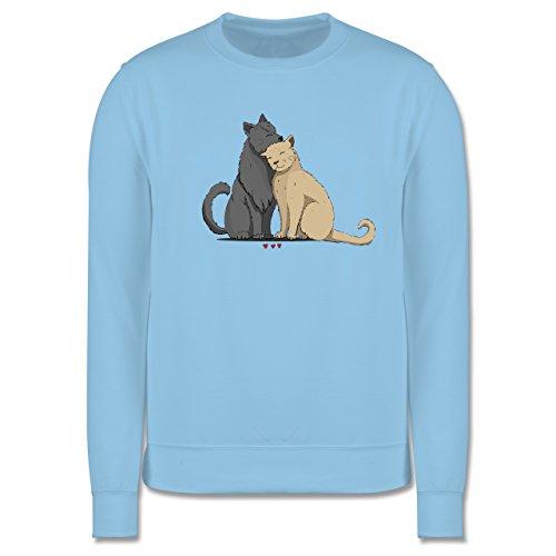 Katzen - kuschelnde Katzen - Herren Premium Pullover Hellblau