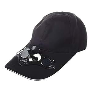 SODIAL (R) Estate Outdoor Solar Sun Power cappello raffredda ventilatore freddo per baseball di golf Sport - Nero