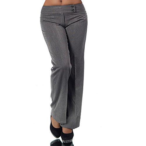 H326 Damen Business Stoffhose Elegante Bootcut Hose Classic Schlaghose Schlag, Farben:Grau;Größen:40 L (Etikett T4)