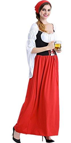 WLITTLE Damen Kostüm Oktoberfest bayerische Bier Partei Damen Kostüm Deutsch traditionellen Outfit Karnevalskostüm Abendkleid -Halloween Cosplay Kostümkleidung