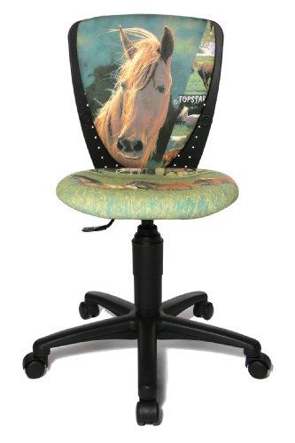 Topstar 70570JB20 Kinderdrehstuhl, S'cool 3 grün/ Bezugsstoff Motiv Pferde (Mädchen Bürostuhl)