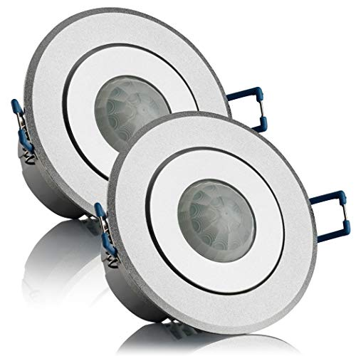 SEBSON® Bewegungsmelder Innen Unterputz LED geeignet, Decken Montage, Infrarot Sensor programmierbar Reichweite 6m/ 360°, schwenkbar, 2er Pack