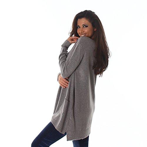 VOYELLES Eleganter Damen Pullover, weit geschnitten, flauschig weich mit langen Ärmeln und einem angnehmen Tragekomfort 34-38 Grau