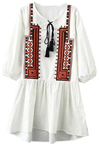 Damen Mode Blusenkleider V-Ausschnitt Partykleider 3 4 arm Minikleid Druck abiballkleid Tunnelzug Petticoat Loose Freizeitkleid Sommer Strandkleider Weiß