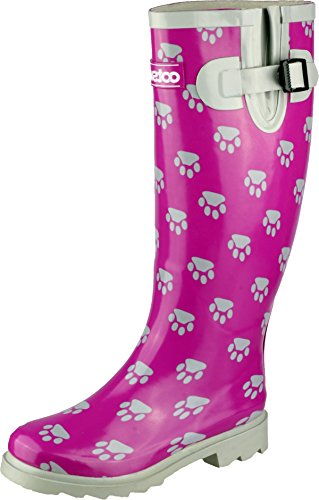 Cotswold Women Collection Dog Paw Wellington Boot Low Heel Rubber Upper Footwear