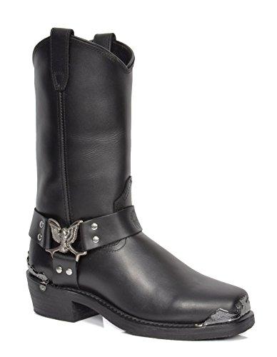 A1 FASHION GOODS Aeb77h Black, Herren Biker Boots, Schwarz - Schwarz - Größe: 42