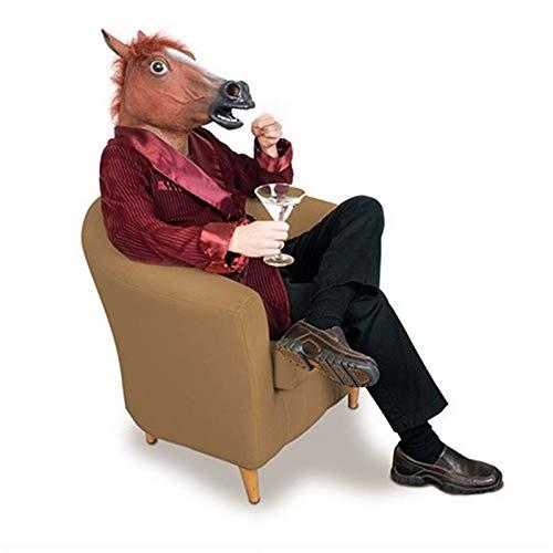 Liamostee - Maschera realistica a Forma di Testa di Cavallo, criniera in Lattice, per Halloween e Feste in Costume
