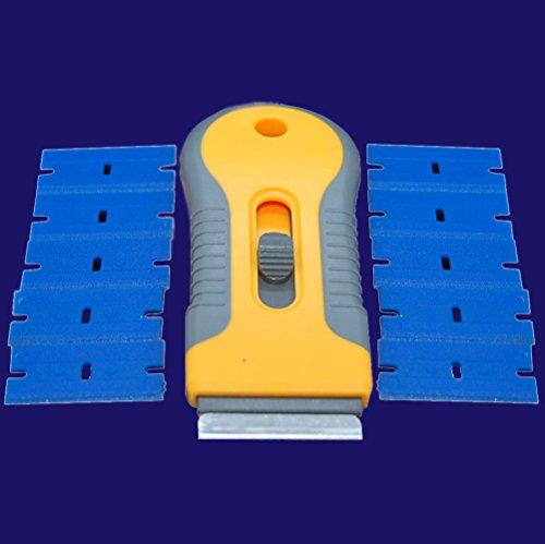 Einziehbar Einseitige Rasierklinge Halter + Metall und Kunststoff Rasierklingen, Schaber für Reinigung Glas, LCD, Holz, Kunststoff und Metall Oberfläche, Anzahl Variationen (Halter + 50x Kunststoff)