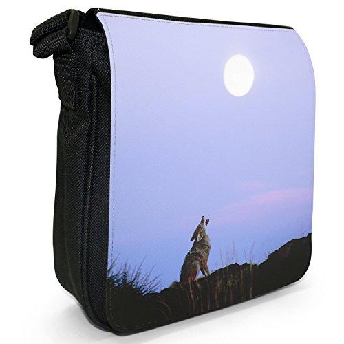 Wolves Wolf-Borsa a spalla piccola di tela, colore: nero, taglia: S Wolf Howling Under Moon