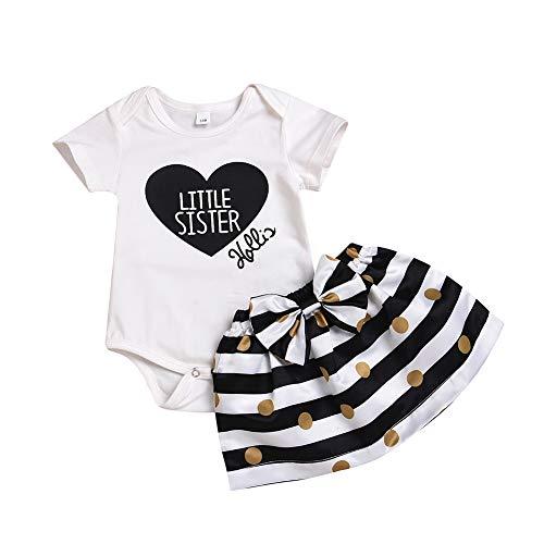 Passende Schwester Outfit Baby Mädchen Kleidung Set Big Sister T-Shirt und Rock Little Sister Strampler und Rock Sommer Kostüme (Kostüm Schwestern)