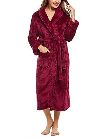 HOTOUCH Femme Peignoir Hiver Doux Polaire Robe de Chambre Manches Longues Deux Poches Rouge L