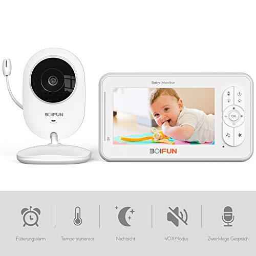Babyphone mit Kamera, Dual Audio 4,3 Zoll Digital LCD-Bildschirm VOX, Nachtsicht, Temperaturüberwachung, Nachtlicht, Fütterungsalarm, einstellbare Lautstärke und Helligkeit