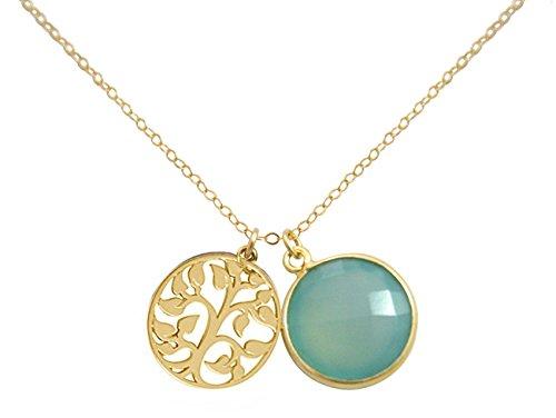 Gemshine - Damen - Halskette - Anhänger - LEBENSBAUM - 925 Silber Vergoldet - Chalcedon -...