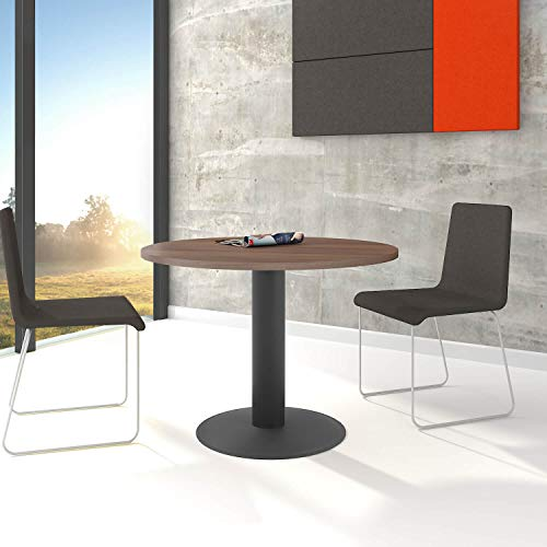 WeberBÜRO Optima runder Besprechungstisch Ø 100 cm Nussbaum Anthrazites Gestell Tisch Esstisch
