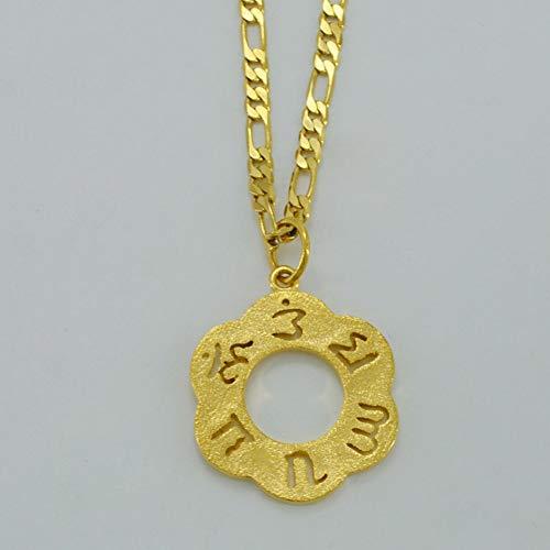 Die Sechs Silben Mantra Anhänger Und Halsketten Gold Farbe Indischen Buddhismus Halskette Thailand, Sri Lanka, Birma