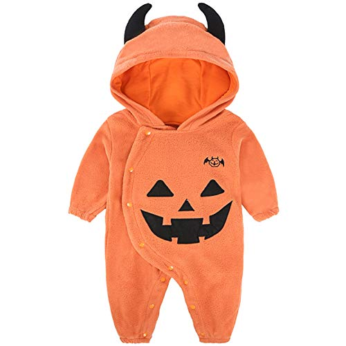Kostüm Muster Baby Teufel - Romote Unisex Halloween-Kürbis-Teufel-Overall-Baby Cutie Kürbis Body Fancy Outfits Cosplay Partei-Spielanzug-Kostüm Orange 80 Yard 70-75cm