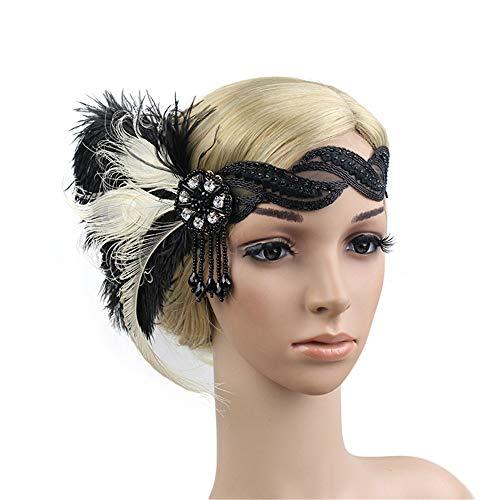 Art-Deco-1920er Jahre Kopfschmuck Feder Flapper Stirnband Great Gatsby Kopfschmuck Vintage Haarspange Haarschmuck für Party Hochzeit (1920er Jahren Flapper Frisuren)
