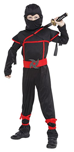 DEMU Ninja Kostüm Kinder Halloween Karneval Jungen Verkleidung Fasching Karneval (Large)