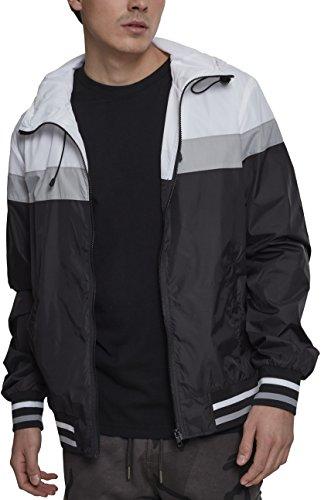 Urban Classics Herren Jacke College Windrunner, Mehrfarbig (Black/White/Grey 00514), X-Large (Herstellergröße: XL)