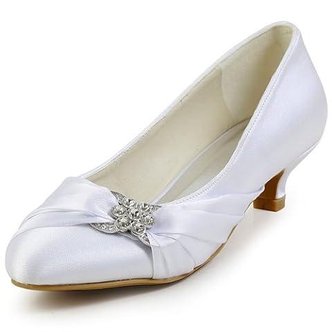 Elegantpark EP2006L Satin Plisse Strass Boucle Bout Round Femme Escarpins Chaussures a talon Bas Enfiler De Mariee Blanc 38