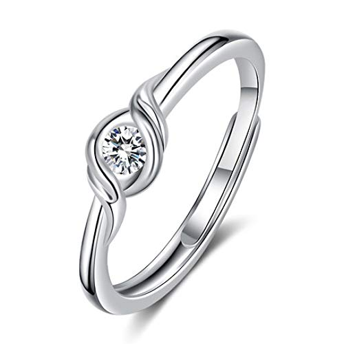 WHX DamenRingeEdelstahl,Damen Woven Rings Überzogene Diamantringe Offene Trauringe Für alle Gelegenheite