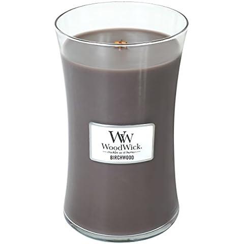 Woodwick Candela profumata, misura grande, in betulla, 22 ml, barattolo in vetro con coperchio in legno/stand. 'Crackles quando si