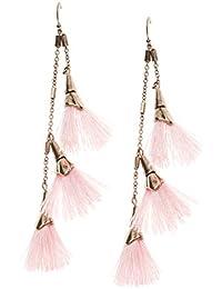 Happiness Boutique Damas Pendientes de Borla en Rosa Pastel | Pendientes Llamativos con Diseño de Cadena en Color Dorado Libres de Níquel