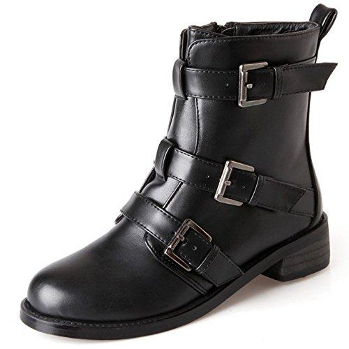 COOLCEPT Damen Mode Flache Schuhe Seitlichen Reißverschluss Martin Stiefel Knöchel Stiefel Mit Schnalle Schwarz