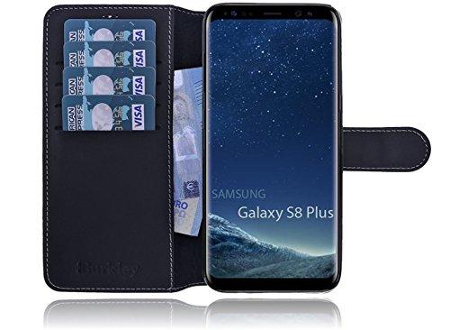 Burkley Samsung Galaxy S8 Plus (G955) Hülle Premium Handyhülle | Ledertasche | Handytasche | Schutzhülle | Book Cover | Case | Etui mit bruchfester Innenschale und Standfunktion (Schwarz)