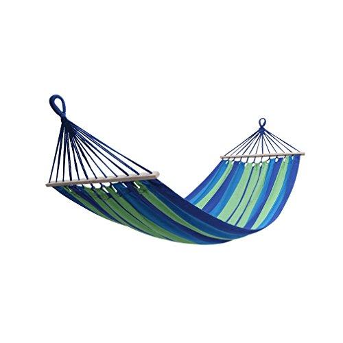 Holifine Outdoor Hamac Jardin Camping Extérieur Hammock Voyage Randonnée 200 x 100 cm Lit Suspendu Intérieur Balancelle de Coton-Polyester avec 1 x Oreiller (60 x 20 cm) Charge Max 120 kg - Bleu