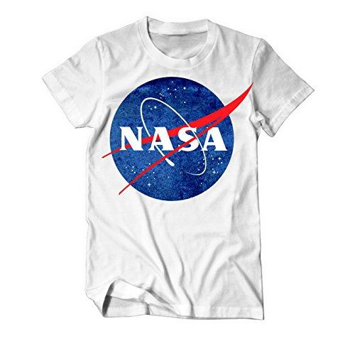 NASA Logo Weltraumbehörde T-Shirt Herren Weiß
